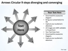Arrows Circular 9 Steps Diverging And Converging Diagram PowerPoint Slides