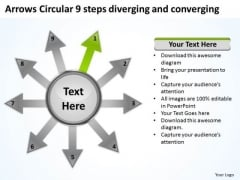Arrows Circular 9 Steps Diverging And Converging Diagram PowerPoint Templates