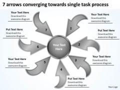 Arrows Converging Towards Single Task Process Circular Flow Network PowerPoint Templates