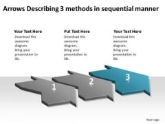 Arrows Describing 3 Methods Sequential Manner Ppt Flow Charts Vision PowerPoint Templates