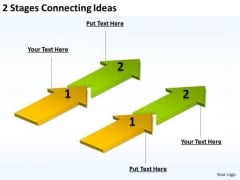 Arrows For PowerPoint 2 Stages Connecting Ideas Slides