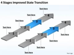 Arrows For PowerPoint 4 Stages Improved State Transition Templates