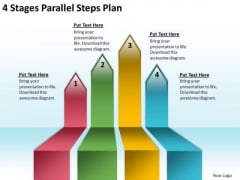 Arrows For PowerPoint Free 4 Stages Parallel Steps Plan Slides