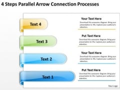 Arrows For PowerPoint Free 4 Steps Parallel Connection Processes Slides