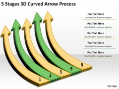 Arrows For PowerPoint Free 5 Stages 3d Curved Process Slides