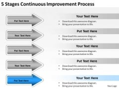 Arrows For Stages Continuous Improvement Process PowerPoint Templates