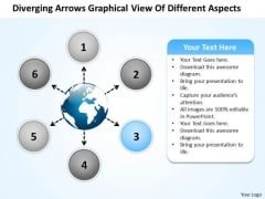Arrows Graphical View Of Different Aspects Arrow Circular Network PowerPoint Templates