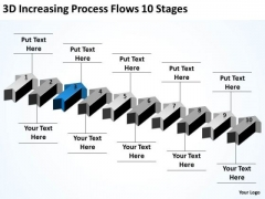 Arrows In PowerPoint 2010 3d Increasing Process Flows Stages Ppt Templates