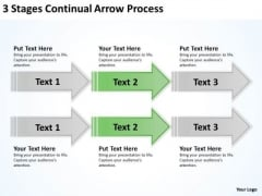 Arrows In PowerPoint 3 Stages Continual Process Slides