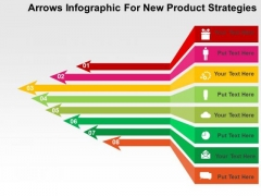 Arrows Infographic For New Product Strategies PowerPoint Template