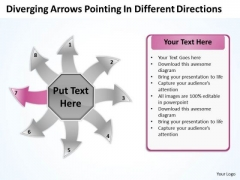 Arrows Pointing Different Directions Circular Flow Process Chart PowerPoint Slide