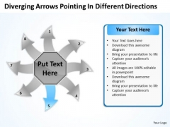 Arrows Pointing Different Directions Circular Flow Process Chart PowerPoint Slides