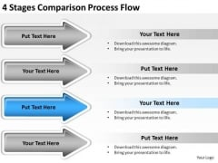 Arrows PowerPoint 4 Stages Comparison Process Flow Slides
