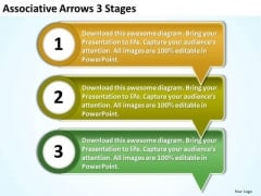 Associative Arrows 3 Stages PowerPoint Flow Chart Slides