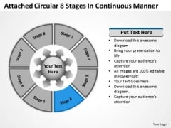 Attached Circular 8 Stages In Continuous Manner Cycle Process PowerPoint Templates