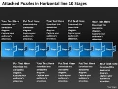 Attached Puzzles In Horizontal Line 10 Stages Vision Flow Charts PowerPoint Slides