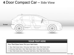 Automobile 4 Door Blue Car Side View PowerPoint Slides And Ppt Diagrams Templates