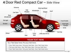 Automobile 4 Door Red Car Side View PowerPoint Slides And Ppt Diagrams Templates