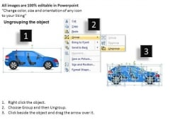 Automotive 4 Door Blue Car Side View PowerPoint Slides And Ppt Diagrams Templates