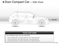 Automotive 4 Door Red Car Side View PowerPoint Slides And Ppt Diagrams Templates