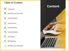 B2B Marketing Table Of Content Ppt Professional Microsoft PDF