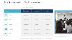 B2C Marketing Initiatives Strategies For Business Track Users With UTM Parameters Ppt Infographic Template Slides PDF