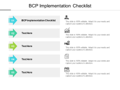 BCP Implementation Checklist Ppt PowerPoint Presentation Gallery Visual Aids Cpb