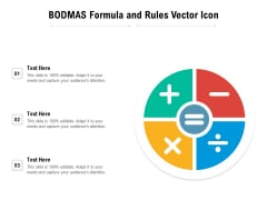BODMAS Formula And Rules Vector Icon Ppt PowerPoint Presentation Diagram Templates PDF