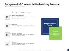 Background Of Commercial Undertaking Proposal Ppt Gallery Templates PDF
