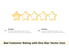 Bad Customer Rating With One Star Vector Icon Ppt PowerPoint Presentation Professional Design Inspiration PDF
