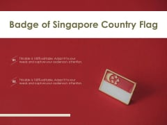 Badge Of Singapore Country Flag Ppt PowerPoint Presentation Portfolio Example Introduction PDF