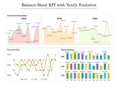 Balance Sheet KPI With Yearly Evolution Ppt PowerPoint Presentation Ideas Layouts PDF