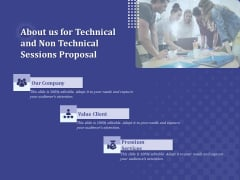 Balancing Skill Development About Us For Technical And Non Technical Sessions Proposal Themes PDF