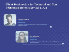 Balancing Skill Development Client Testimonials For Technical And Non Technical Sessions Services Management Slides PDF