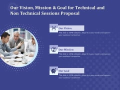 Balancing Skill Development Our Vision Mission And Goal For Technical And Non Technical Sessions Proposal Designs PDF