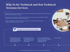 Balancing Skill Development Why Us For Technical And Non Technical Sessions Services Icons PDF