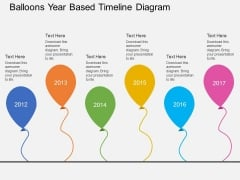 Balloons Year Based Timeline Diagram Powerpoint Template
