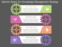 Banner Gears For Knowledge Management Strategy Powerpoint Template