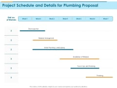 Bathroom Fixture Project Schedule And Details For Plumbing Proposal Ppt PowerPoint Presentation Icon Layout PDF