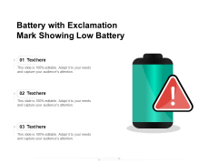 Battery With Exclamation Mark Showing Low Battery Ppt PowerPoint Presentation Gallery Portrait PDF