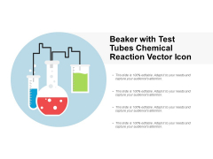 Beaker With Test Tubes Chemical Reaction Vector Icon Ppt PowerPoint Presentation Model Clipart