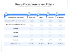 Beauty Product Assessment Criteria Ppt PowerPoint Presentation Layouts Design Ideas