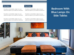 Bedroom With Blue Lamps On Side Tables Ppt PowerPoint Presentation Gallery Picture PDF