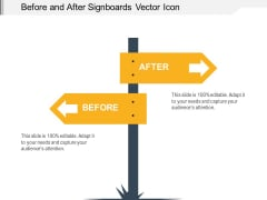 Before And After Signboards Vector Icon Ppt PowerPoint Presentation Inspiration Visuals PDF