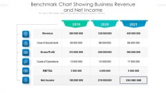 Benchmark Chart Showing Business Revenue And Net Income Ppt PowerPoint Presentation Summary Graphic Tips PDF