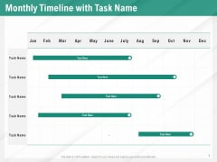 Benefits Of Business Process Automation Monthly Timeline With Task Name Ppt Visual Aids Background Images PDF