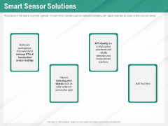 Benefits Of Business Process Automation Smart Sensor Solutions Ppt Infographics Vector PDF
