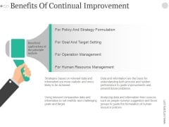 Benefits Of Continual Improvement Ppt PowerPoint Presentation Examples