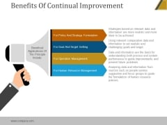 Benefits Of Continual Improvement Ppt PowerPoint Presentation Portfolio