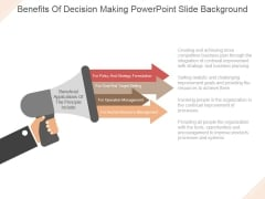 Benefits Of Decision Making Ppt PowerPoint Presentation Slide Download